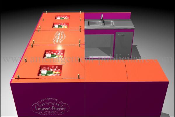 Mobilier modulable pour espace publicitaire