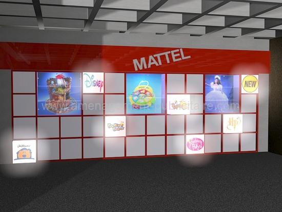 aménagement magasin - corner avec mur décoré pour une marque de jouets