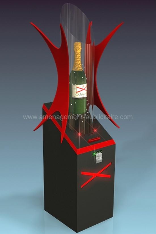 aménagement de magasin - meuble présentoir de bouteille de champagne