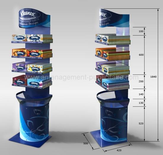 distributeur de sol avec étagères pour produits et fronton logoté