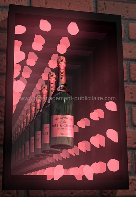 signalétique intérieure - enseigne lumineuse en forme de cadre à miroirs et éclairage pour une marque de champagne