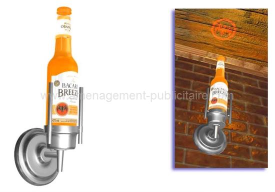 applique murale - luminaire en forme de bouteille avec projection d'un logo au plafond