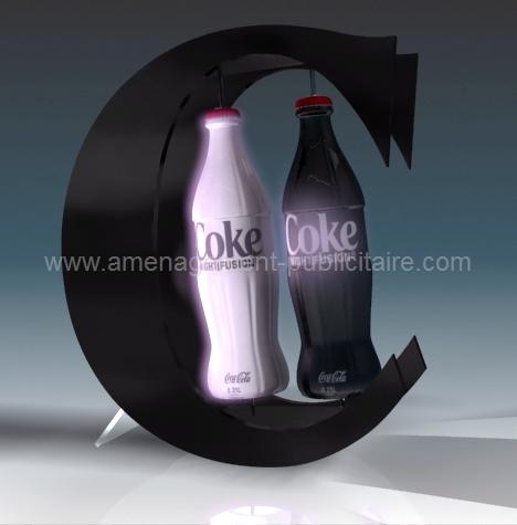 aménagement de magasin - présentoir de bouteille de soda