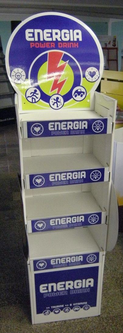 tête de gondole - présentoir de sol en carton avec étagères, étiquettes et fronton logoté