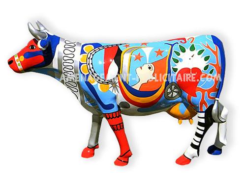 statues en fibre de verre et alliage : vache multicolore