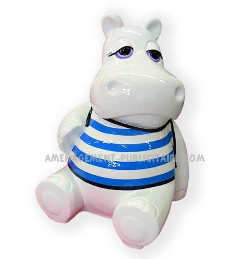 statue en resine - hippopotame en maillot
