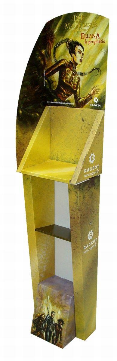 présentoirs publicitaires - présentoir en carton comprenant des casiers de rangement, un socle et un panneau de sommet décorés