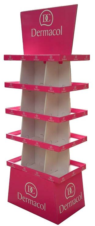 plv de sol - présentoir de sol en carton avec étagères et fronton